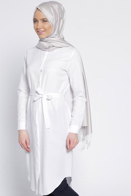 Everyday Basic Beyaz Gizli Düğmeli Tunik