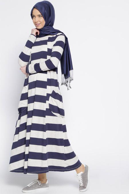 Everyday Basic Lacivert Çizgili Salaş Elbise