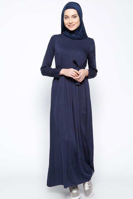 Everyday Basic Lacivert Pile Detaylı Elbise
