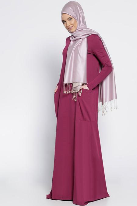 Everyday Basic Mürdüm Natürel Kumaşlı Cepli Elbise