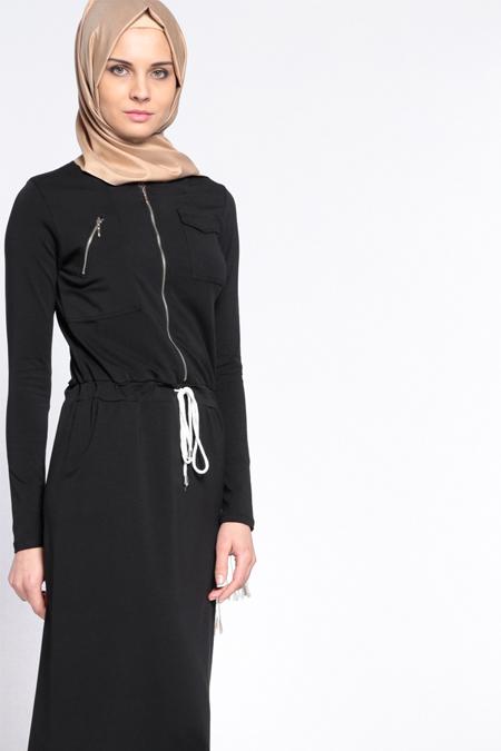 Everyday Basic Siyah Beli Bağcıklı Elbise