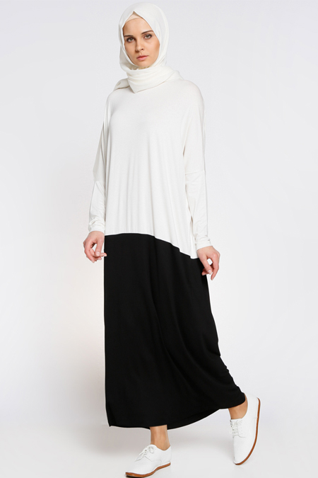 Everyday Basic Siyah Beyaz Garnili Elbise