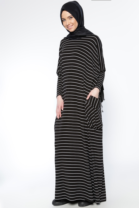Everyday Basic Siyah Çizgili Salaş Elbise