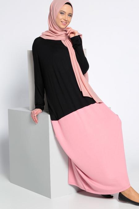 Everyday Basic Siyah Gul Kurusu Garnili Elbise