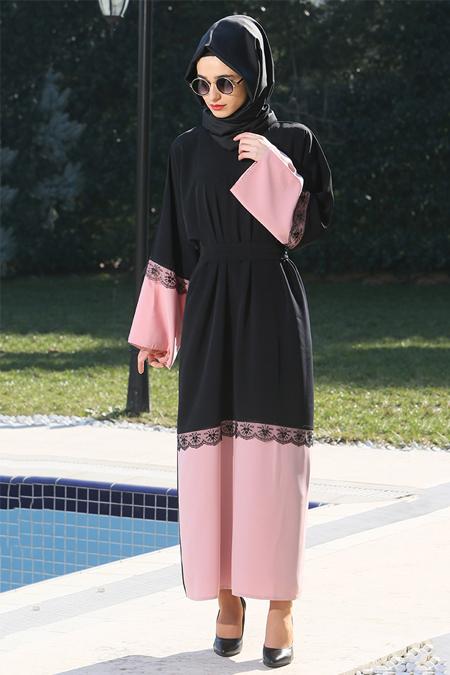 Gabra Siyah Pudra Ferace Elbise