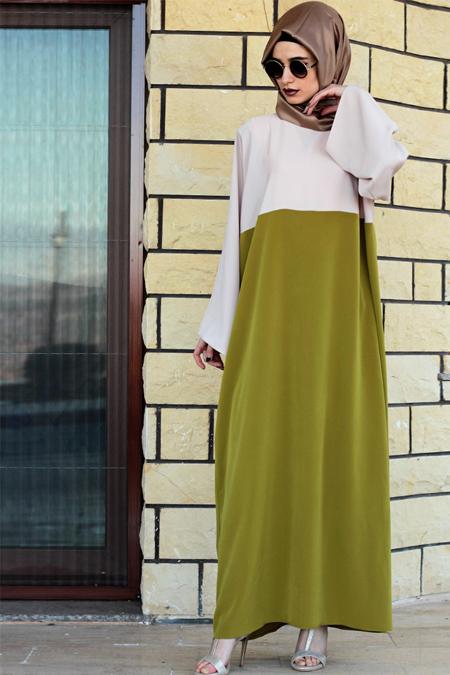 Gabra Yeşil Krem Ferace Elbise