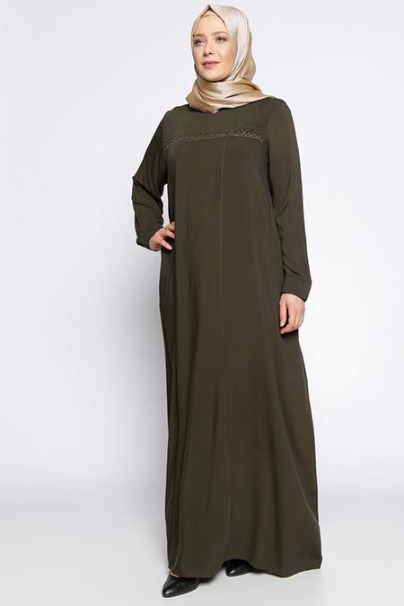 Ginezza Haki Drop Baskılı Elbise