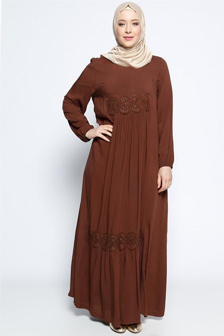 Ginezza Kahverengi Güpür Detaylı Elbise