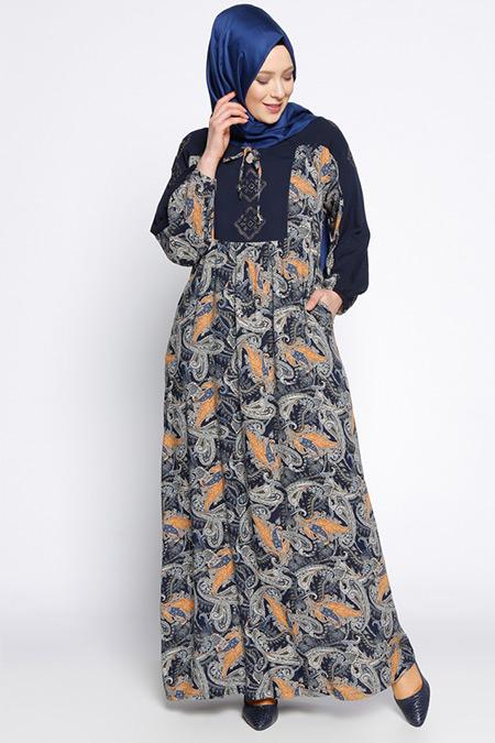 Ginezza Lacivert Desenli Elbise
