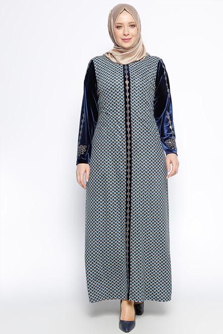 Ginezza Lacivert Drop Baskılı Elbise