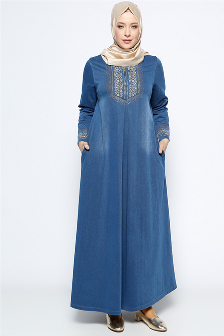 Ginezza Lacivert Drop Baskılı Kot Elbise