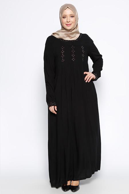 Ginezza Siyah Drop Baskılı Elbise