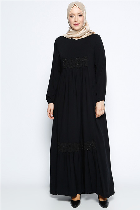 Ginezza Siyah Güpür Detaylı Elbise