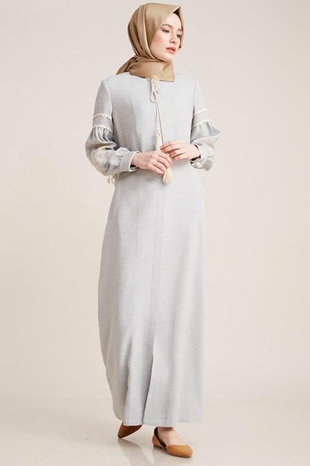 Kayra Mavi Nakışlı Doğal Kumaş Ferace Elbise