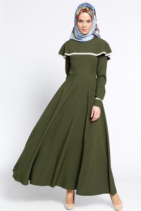 LOREEN Haki Volanlı Elbise
