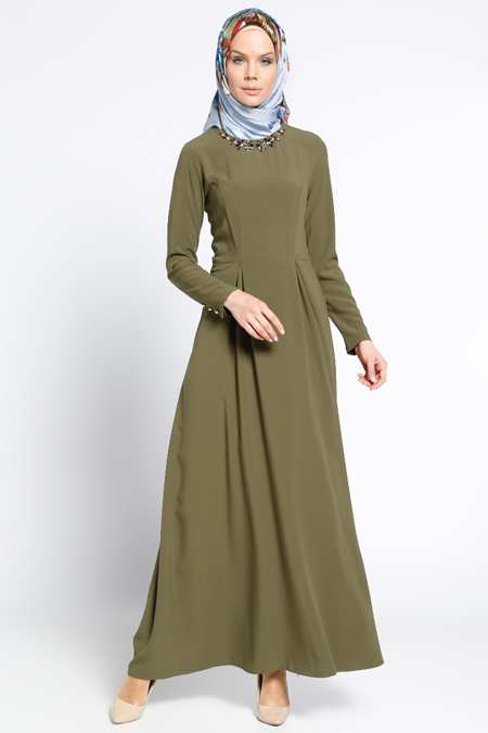 LOREEN Haki Yaka Detaylı Elbise