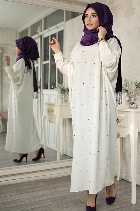 Lef`zen Ekru Tuana İncili Elbise