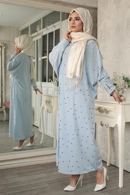 Lef`zen Mavi Tuana İncili Elbise