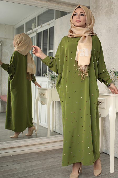 Lef`zen Yeşil Tuana İncili Elbise