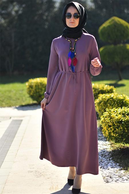 Melek Aydın Gül Kurusu Düz Renkli Elbise