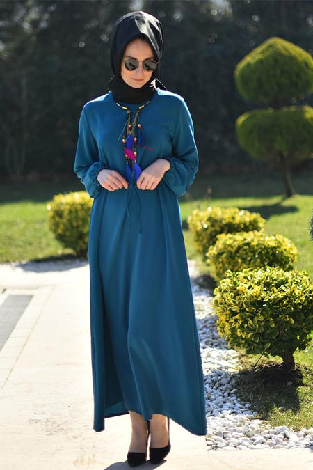 Melek Aydın Petrol Düz Renkli Elbise
