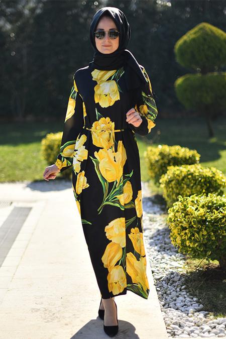 Melek Aydın Sarı Siyah Çiçek Desenli Elbise