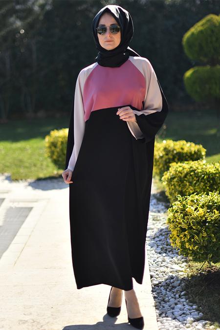Melek Aydın Siyah Pudra Ferace Elbise