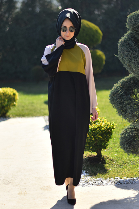 Melek Aydın Siyah Yeşil Ferace Elbise