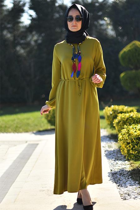 Melek Aydın Yağ Yeşili Düz Renkli Elbise