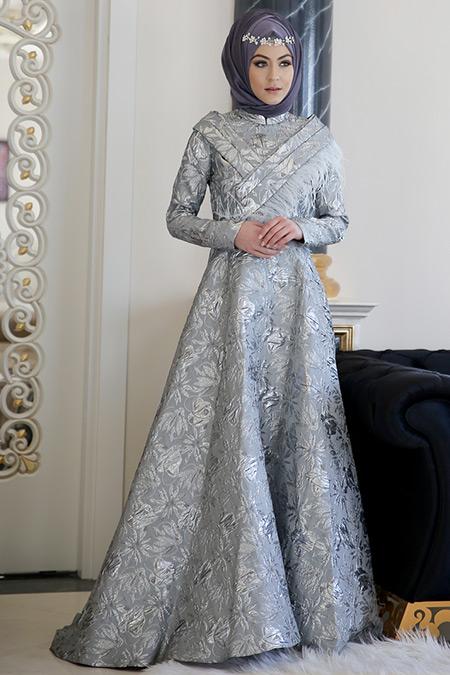 Minel Aşk Gümüş Otriş Abiye Elbise