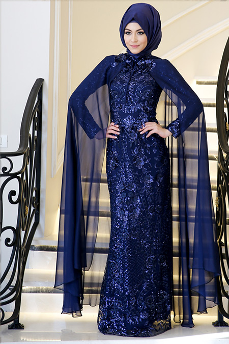 Minel Aşk Lacivert Lisa Abiye Elbise