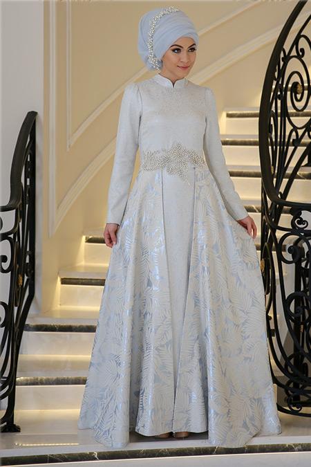 Minel Aşk Mavi Clara Abiye Elbise
