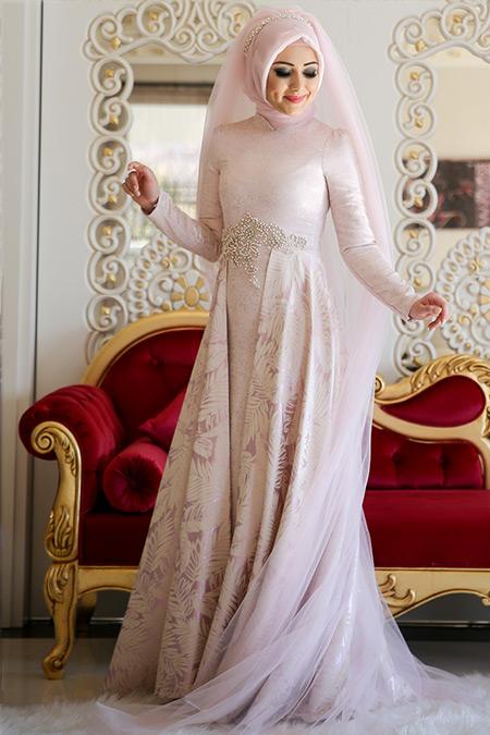 Minel Aşk Pudra Clara Abiye Elbise