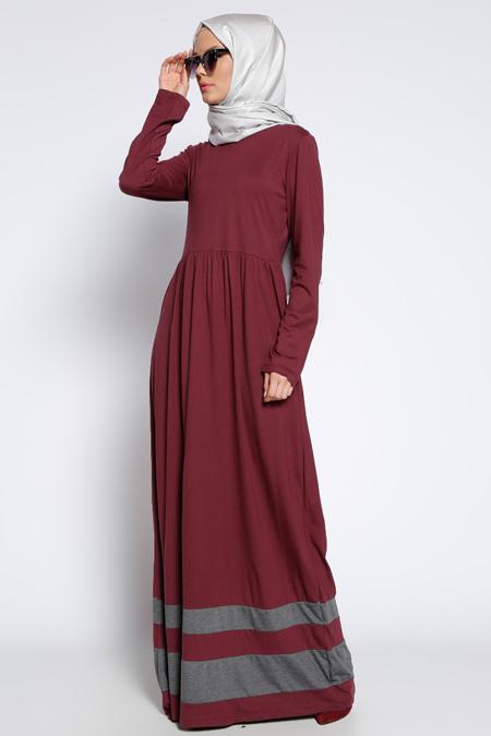 Muni Muni Bordo Eteği Garnili Elbise