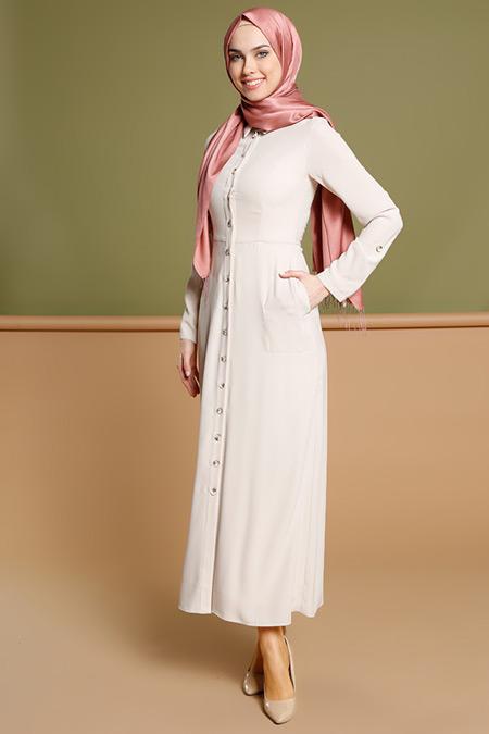 Puane Bej Düğmeli Elbise