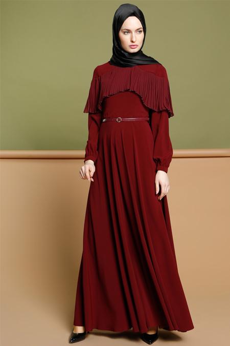 Puane Bordo Piliseli Elbise