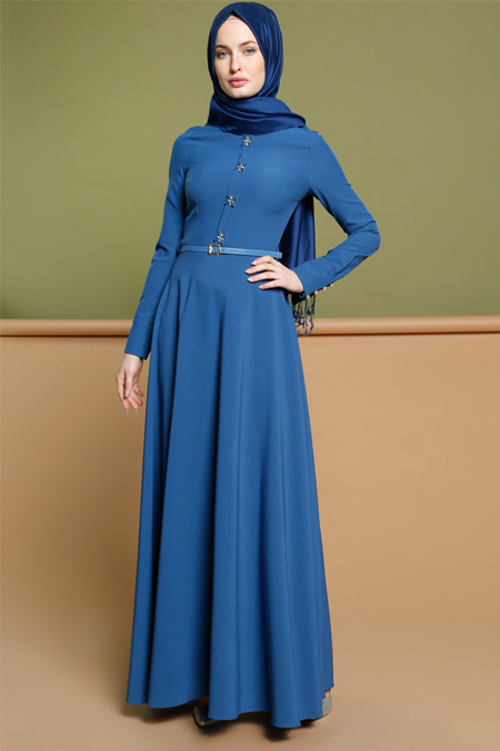 Puane İndigo Taş Detaylı Elbise