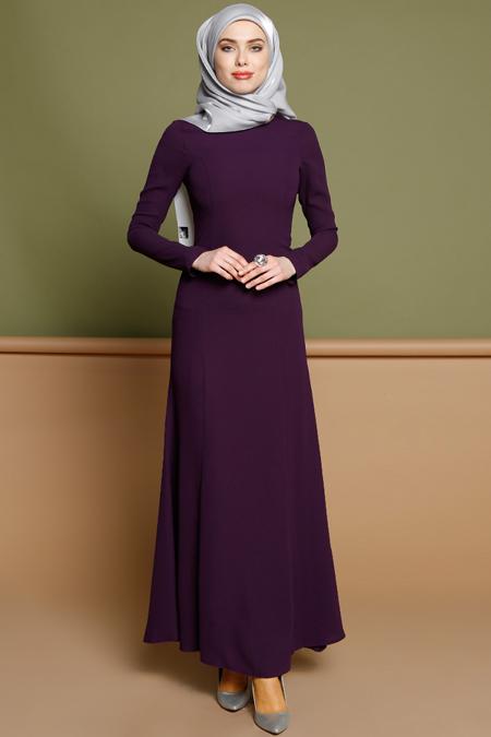 Puane Mor Düz Renkli Elbise