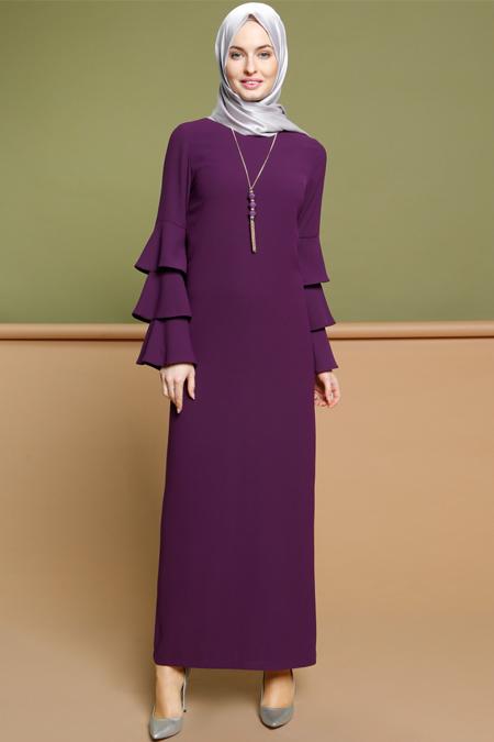 Puane Mor Kolyeli Elbise