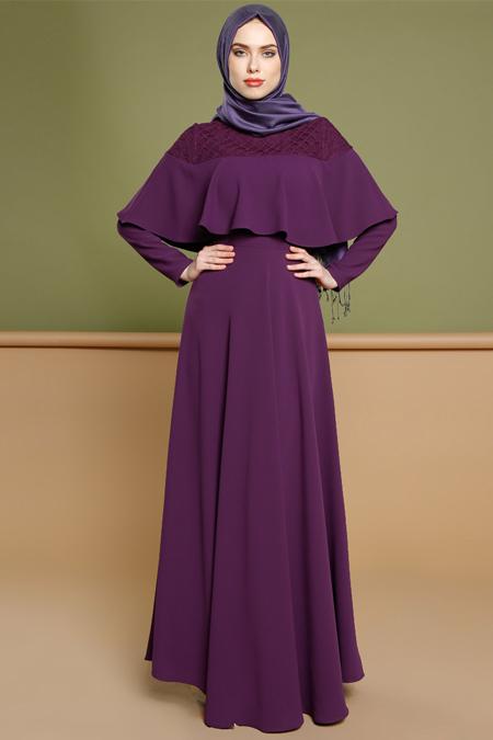 Puane Mor Volan Detaylı Elbise