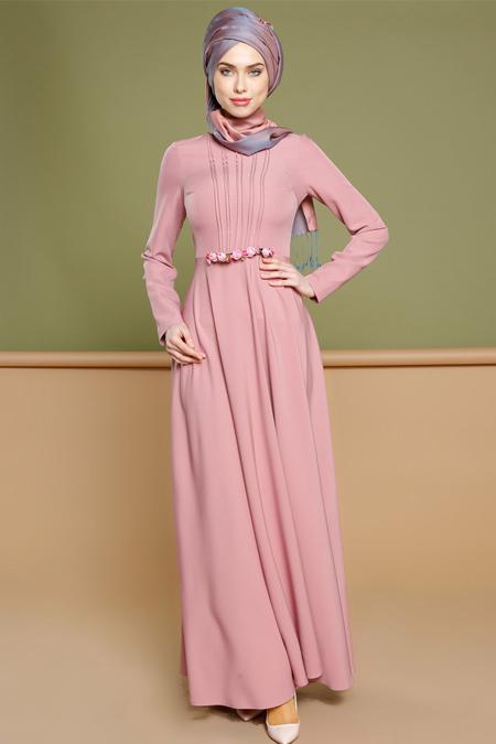 Puane Pudra Broş Detaylı Elbise