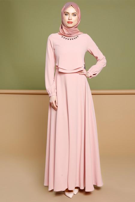 Puane Pudra Yaka Detaylı Elbise