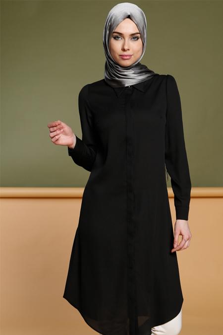 Puane Siyah Gizli Düğmeli Tunik