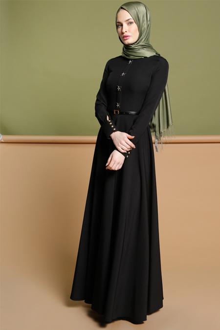 Puane Siyah Taş Detaylı Elbise