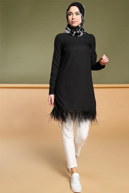 Puane Siyah Tüy Detaylı Tunik