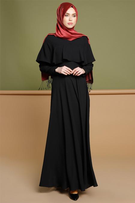 Puane Siyah Volan Detaylı Elbise
