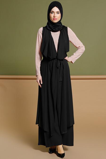 Puane Siyah Yelek & Bluz İkili Takım