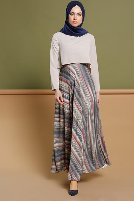 Puane Taş Lacivert Desenli Elbise