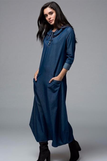 Rabiaca Lacivert Kapşonlu Elbise