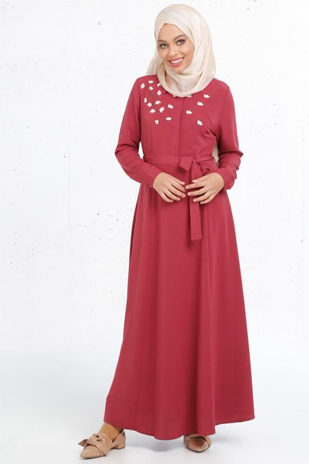 Refka Bordo Nakış İşlemeli Elbise